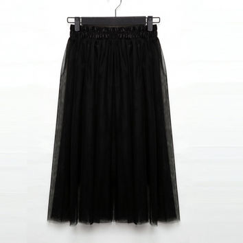 New Women's Fashion Princess Fairy Style Voile Tulle Skirt Bouffant Puffy Skirt