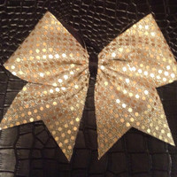 Gold sequins Cheer Bow