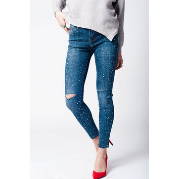 Dark denim embellished jeans