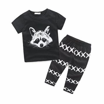 Baby's 2pc Outfit w/Raccoon Print
