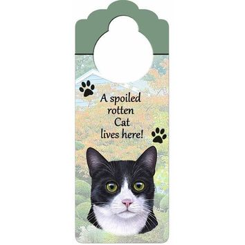 ICIKJY1 A Spoiled Tuxedo Cat Lives Here Hanging Doorknob Sign