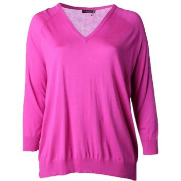 Ralph Lauren Womens Plus Pointelle V-neck Pullover Sweater