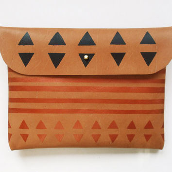 CLUTCH // iPad Mini Case // brown leather with copper and black pattern