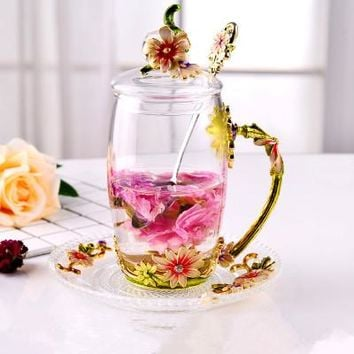 Enamel Glass Tea Cups with Pink Daisies