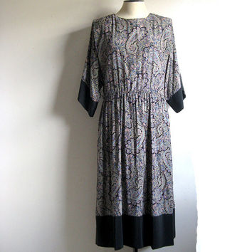 Vintage 1980s Black Kimono Dress Black Mauve Paisley Print Midi Length Dress9-10
