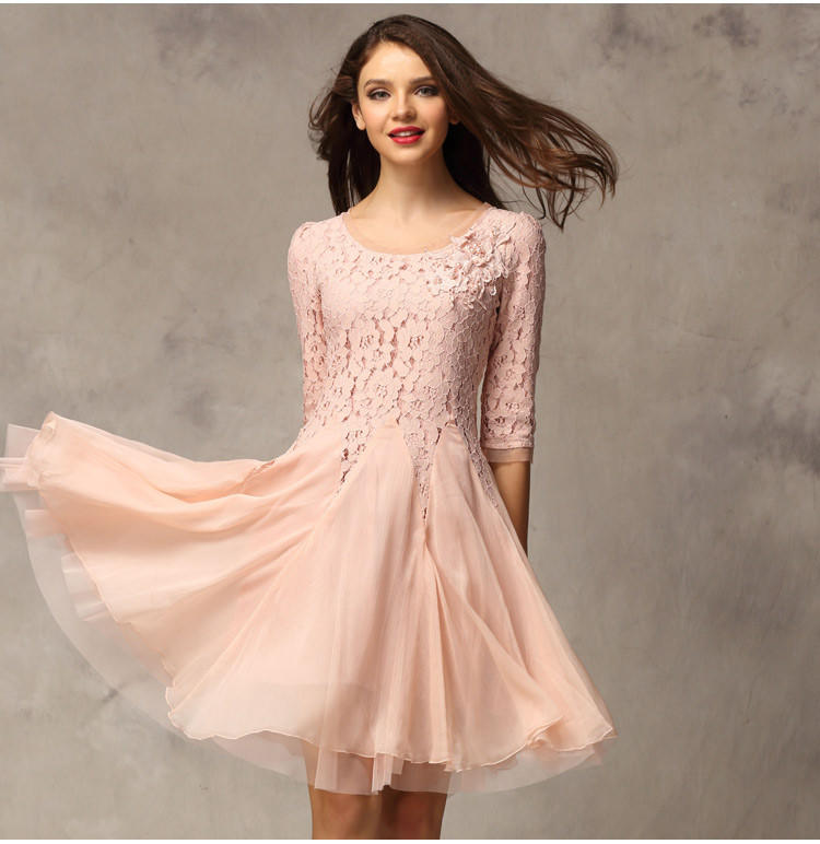 Long sleeve lace knee length dress