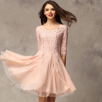 Lace Chiffon 3/4 Sleeves Knee-length Dress