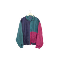90s silk colorblock bomber jacket / vintage 1990s / basic / retro / hip hop / streetwear / minimal / windbreaker / mens large L - XL