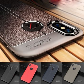 Litchi Leather Pattern Silicon Case For iPhone X XS Max XR 7Plus 8Plus 7 8 6 6sPlus 5 5s Shockproof TPU Case
