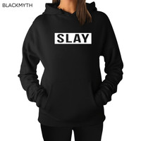 BLACKMYTH Women Sweatshirts Cotton Hoodies Pullovers Long Sleeve Hooded Tops Women's SLAY Letter Printed White Black Fashion