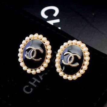 ONETOW Chanel Women Fashion CC Logo Pearl Stud Earring Jewelry