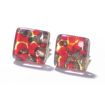 Red Gold Copper Murano Glass Square Cuff Links
