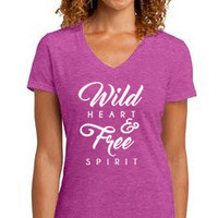 Pre-Sale Women's Tee Wild Heart & Free Spirit Tri Blend Tshirt Women's Cut Style Boho Chic Wild and Free Tee Vneck Heather Tee Graphic Tee