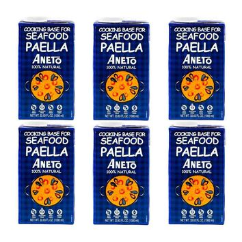 FREE SHIPPING|6 Pack Aneto Seafood Paella Cooking Base, 33.8 fl oz (1L)