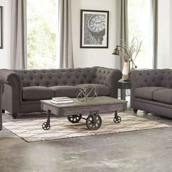 Coaster 550361-62 2 pc roy collection grey linen blend upholstered sofa and love seat set with nail head trim and tufted back and arms