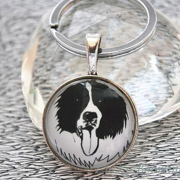 Papillon Dog Keychain,Pen Drawing pet dog key ring ,Dog Jewelry Dog Lover Gift Pet Lover Gift K6