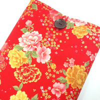 Macbook Air 11 inch Sleeve, Kimono Macbook Air Cover Japanese Cotton Fabric chrysanthemum Peony Red