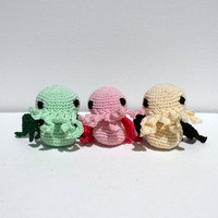 SPECIAL - Pastel Baby Cthulhu Crocheted Miniature Amigurumi - Set of 3 + 1