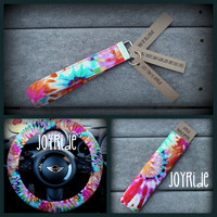 Tye Dye Steering Wheel Cover - Seatbelt Cover - Keychain Set in Tye Dye Tags can be personalized with your message.