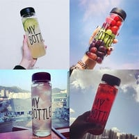Popular Portable Travel Bottle Fruit Juice Sport Water Cup My Bottle  500ML (Color: Multicolor)