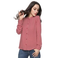 Women red leaves cotton blouses vintage stand collar long sleeve work wear shirts casual tops