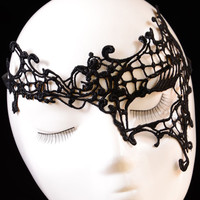 Asymmetrical Embroidered Lace Masquerade Mask