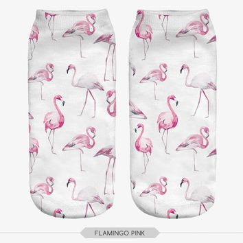 Flamingo Pink Animal Cute Ankle Socks Funny Crazy Cool Novelty Cute Fun Funky Colorful