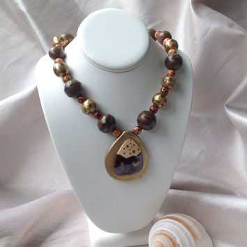African Jewelry Necklace, 18k Gold leaf Polymer clay Beads and setting, African wood beads, 18k Gold Lobster Claw Clasp