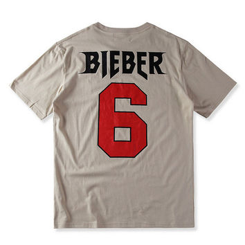 2017 FOG Men T Shirt Justin Bieber Printed Fear Of God X Purpose Tour LeBron James Fans No.6 Basic T-Shirt Men Cotton Tees