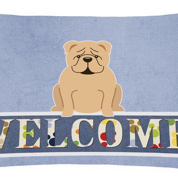 English Bulldog Fawn Welcome Canvas Fabric Decorative Pillow BB5705PW1216