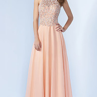 Chiffon Long Sleeveless High Neck Prom Dress