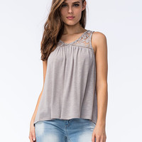 Others Follow Womens Lace Top Gray  In Sizes