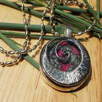 Crescent Moon Pendant, Hot Pink and Black Crescent Moon Pendant Necklace