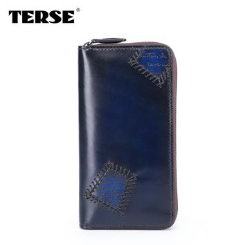 TERSE 2016 New arrival Patch unique Luxury Handmade genuine leather wallet Fashion purse Business leather Wristlet bag 446