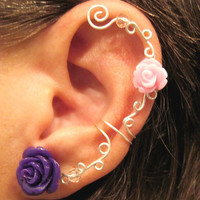 "Non Pierced Ear Cuff  ""Roses are Beautiful"" Cartilage Conch Cuff Silver tone Prom, Wedding"
