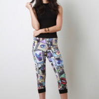 Women's Photo Print Capri Joggers