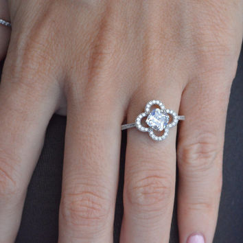 Sterling Silver Halo Engagement Ring - Hexagon Clover Engagement Ring - Sterling Silver Promise Ring - Valentine's Day