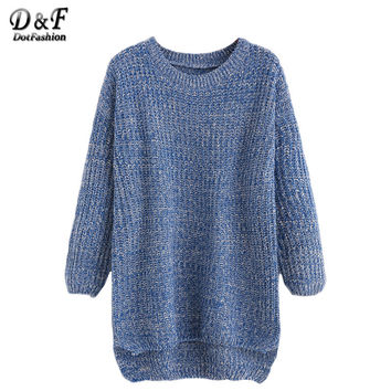 Dotfashion Women Winter Sweater Chunky Sweater Women Winter Sweaters and Pullovers Blue Drop Shoulder High Low Sweater