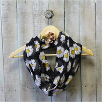 Scarf, Scarves, infinity scarf, scarves for women, Daisy, Black cotton scarf | SC7