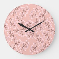 cherry blossom on peach large clock | Zazzle.co.uk