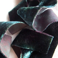 Bias Cut SIlk Ribbon Hand Dyed Dusk 1 1/4 inch