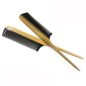 Anti-Static Horn Comb Wood Handle Hair Comb Large Fine Tooth Handmade Hair Brush 2*