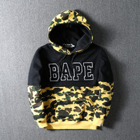 Bape Fashion Winter Unisex Camouflage Patchwork Hoodies  [9555842887]