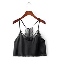Sexy Backless Eyelash Lace Halter Bra Tank Bustier Buttons Back Crop Top y Off the shoulder Tops Camisa S M 4 Colors