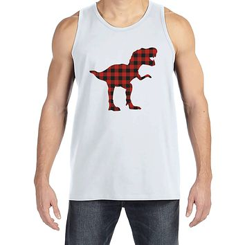 Men's Dinosaur Shirt - Buffalo Plaid Dino White Tank Top  - Funny Mens Shirts - Plaid Dinosaur Shirt - Dinosaur Gift for Him - Dino Lover