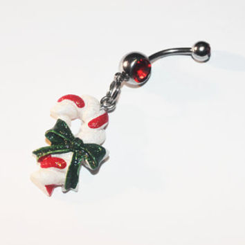 Candy Cane Belly Button Ring, Christmas, Navel Ring, Tiny Candycane, Body Jewelry, Belly Piercing
