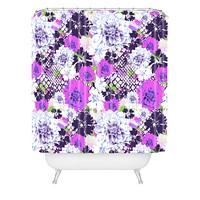Aimee St Hill Croc And Flowers Blue Shower Curtain