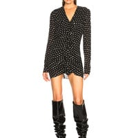 Saint Laurent Polka Dot Ruffle Front Dress in Black & White | FWRD