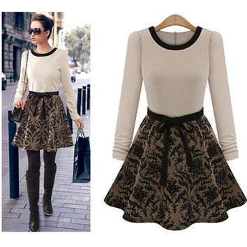 Full-Sleeve O-neck Print Temperament High Quality Women Dress