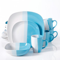 Surreal Hues 16-Piece Square Dinnerware Set- Blue